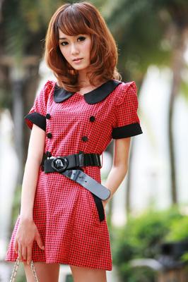 2010夏装-缤蔓-复古格子洋装