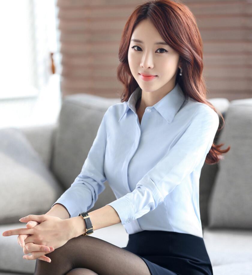 职业衬衫女长袖秋装韩版工作服