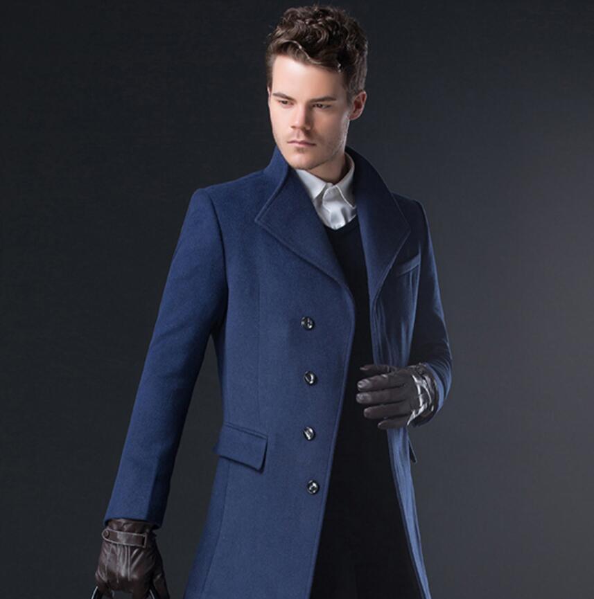 英伦中长款风衣男士毛呢外套