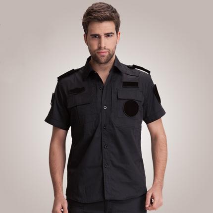 黑色保安短袖作训